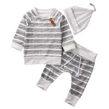 3Pcs/Set ! Baby Clothing Sets Autumn Boys Clothes Infant Newborn Striped Tops T-shirt+ Leggings Pant + hat 3pcs Outfits Set