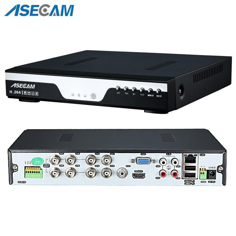Grabadora digital de video DVR para CCTV circuito cerrado de TV de 8 canales y cámaras de vigilancia en red IP AHD 1080N 12fps Onvif NVR 1080P 4CH multilenguaje con alarma