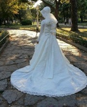 Wedding Dress hijab long sleeve lace applique floor length With Beaded Ribbons Bow Court Train Muslim buy Dresses