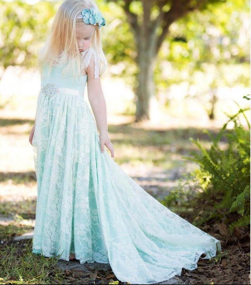 Soft Lace A-line   Flower     Girl     Dress   with Crystals Sweep Train Ribbons Custom Made For Beach Wedding New Coming   Girls   Prom   Dresses