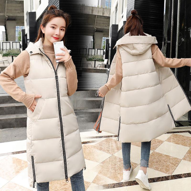 Женский жилет Brieuces, теплый длинный жилет без рукавов с капюшоном, верхняя одежда размера плюс, Осень-зима 2020