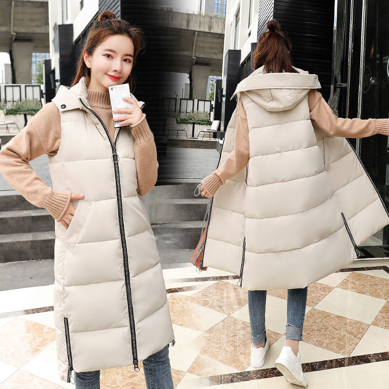 Brieuces Autumn Winter Vest Women Waistcoat 2020 Female Sleeveless Jacket Hood Warm Long Vest Outwear Colete Feminino Plus Size
