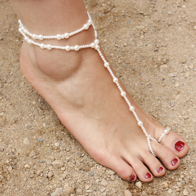 New Fashion Bridal Barefoot Sandal Pearl Elastic Anklet Jewelry