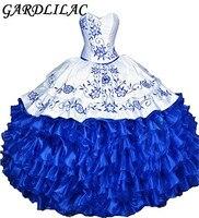 Gardlilac розовый королевский синий вышивка бальные платья 2017 бальное платье Милая оборками Vestidos De 15 Anos сладкий 16 платья для женщин