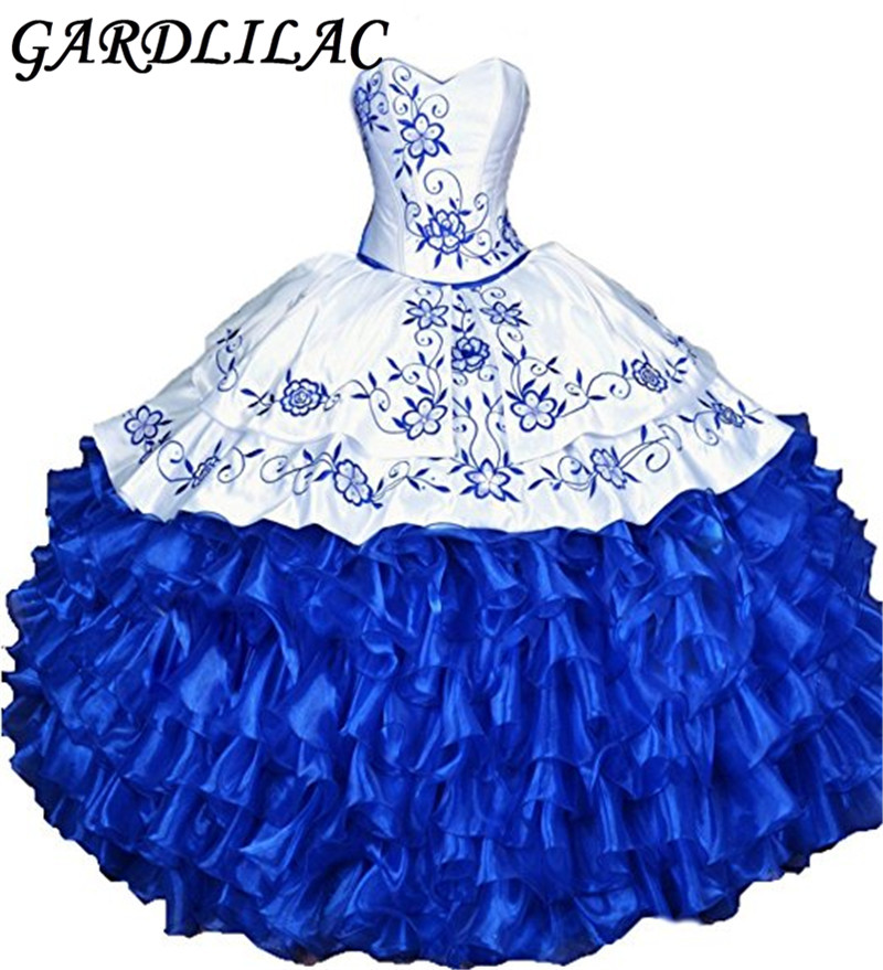 Gardlilac Pink Roayl Blue Embroidery Quinceanera Dresses 2017 Ball Gown Sweetheart Ruffles Vestidos De 15 Anos Sweet 16 Dresses
