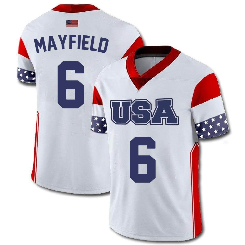 Wholesale Cheap Customized American Football Team T Shirt 6 Baker Mayfield Print Name And Number USA Jerseys