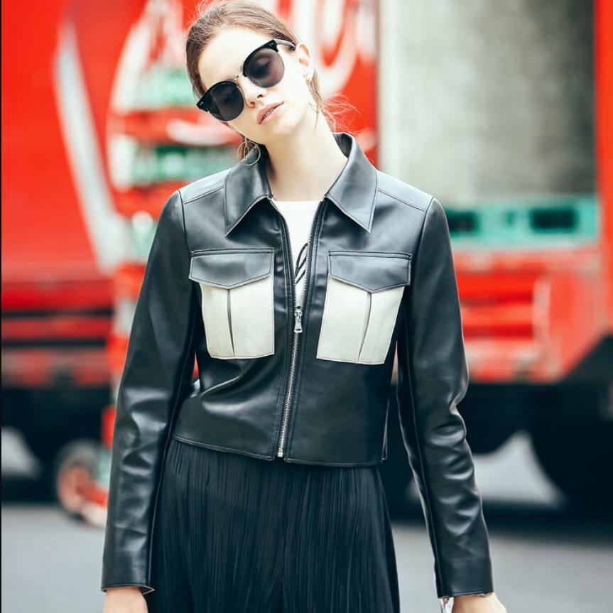 Zipper stitching PU jacket 2019 new fashion brand female hit color pockets motorcycle   leather   jacket Slim pu jacket wq1164