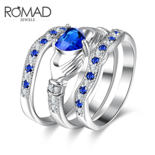 Romad Fashion Luxury Blue Crystal love Heart Ring Sets Cubic Zirconia Wedding Rings For Women Silver Color 2017 New Arrival Gift