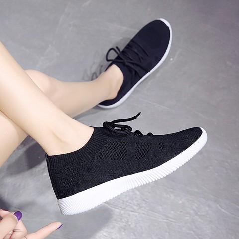 White Sneakers Women Vulcanize Shoes Summer Ladies Trainer Knitted Shoes Spring Flats Casual Lace-up Sock Shoes Zapatillas Mujer Islamabad