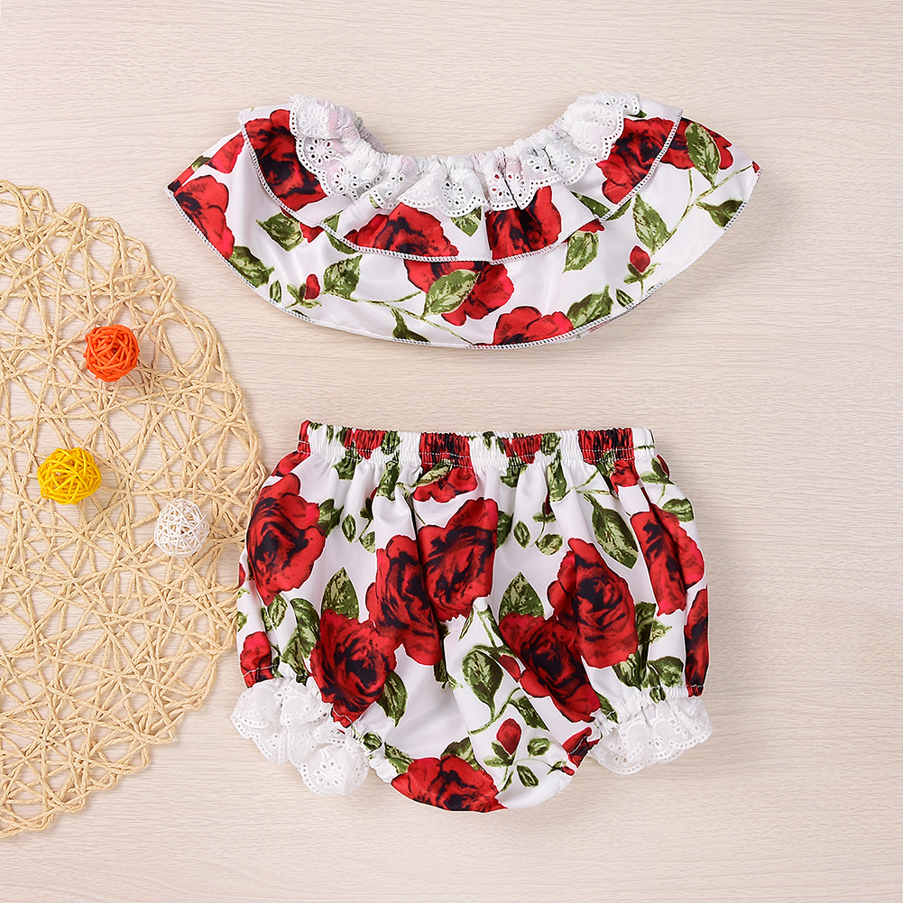 Newest 2pcs Baby Girls Clothes Rose Floral Vest Tops+Shorts Pants Outfits Summer 2017 High Quality Baby Girls Clothing Set