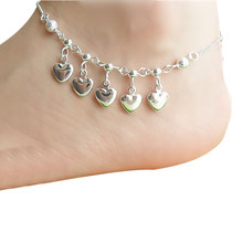 Women Silver Chain Adjustable Pendant Hearts Ankle Bracelet Barefoot Sandal Beach Foot Jewelry Vintage Antique Anklet