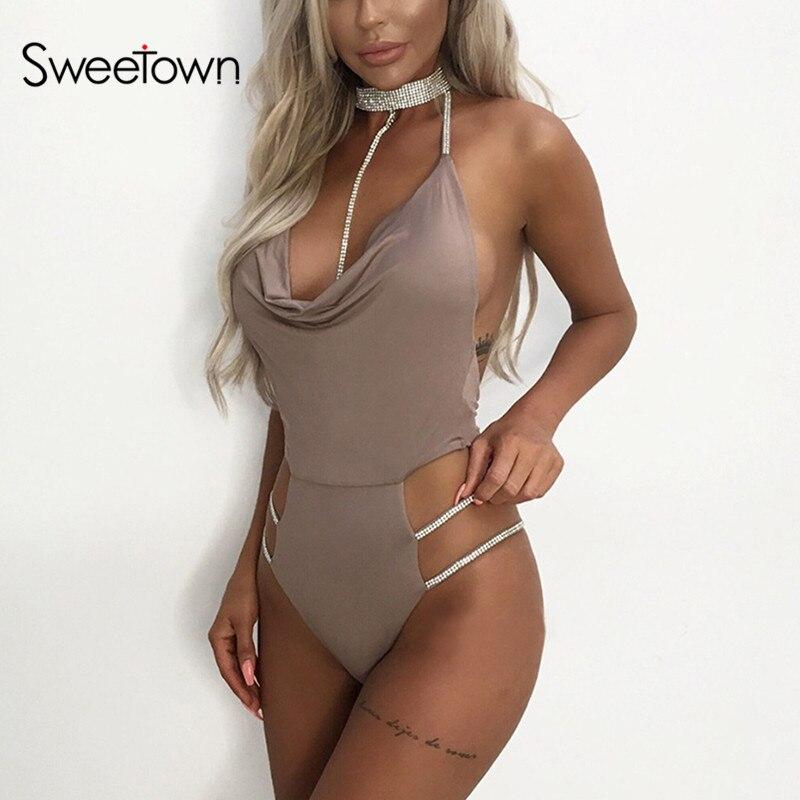 Sweetown 2019 Backless Sexy Body Women Black Diamond Choker Chic Combinaison Femme Khaki Off Shoulder Bodycon Bodysuit Clubwear