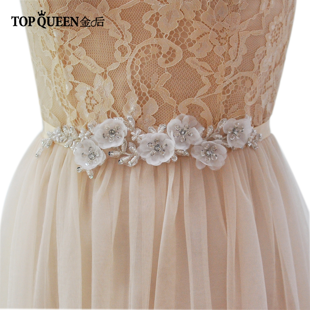 TOPQUEEN Wedding Flower Belts Bride Waistband Bridal Belts Sashes Elegant Flower Evening Party Prom Dresses Accessories S249