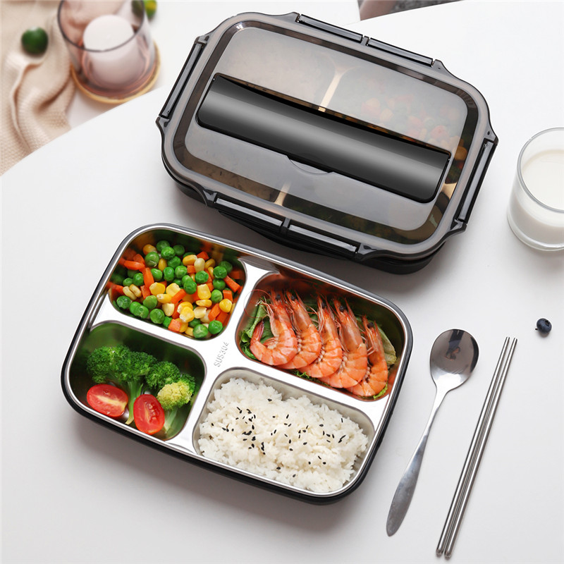 ONEISALL 1000ml Lunch Box Food Container Stainless Steel Heated Container Portable Hiking Healthy Material Leakproof With Spoon