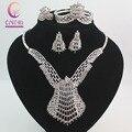 Design de moda Dubai Conjuntos De Jóias de Cristal de Prata Banhado Grande Traje Conjuntos de Jóias de Casamento Nigeriano Beads Africanos