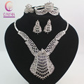 Fashion Dubai Silver Plated Crystal Jewelry Sets Costume Big Design Nigerian Wedding African Beads Jewelry Sets