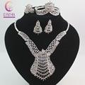 Fashion Dubai Silver Plated Crystal Jewelry Sets Costume Big Design Nigerian Wedding African Beads Jewelry Sets