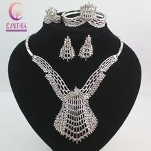 Diseño Dubai Sistemas de la Joyería de Traje de Plata del Cristal Plateado de la manera Grande Boda Nigeriano Beads Africanos Joyería Establece