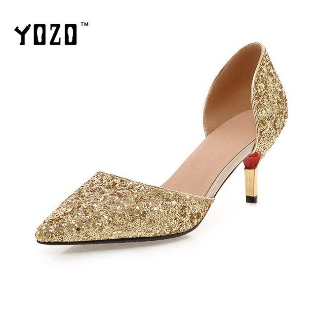 Women Shoes Fashion Sequined Cloth High Heels Pumps Women Elegant Luxury  Glitter Gold Silvery Wedding Party Pumps Bride Pumps ea5b86a860e5