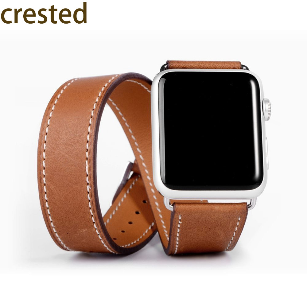 CRESTED Genuine Leather Double Tour bracelet band for apple watch  42mm/38 Leather strap watchband women apple smart watch strap enlighten brick 828