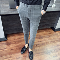 2019 Spring Summer Men's Trousers Gray Plaid Stripes Casual Slim Business Men's Trousers Trousers Cotton Suit Trousers