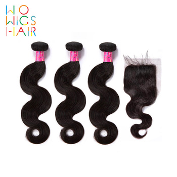 WoWigs Hair Indian Remy Body Wave 3 Bundles Deal With Top Lace Closure / Frontal Natural Color 1B
