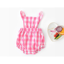 BigMa Kids infant bodysuits Plaid cotton back strap pants