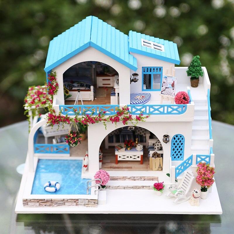 Casa de Muñecas Muebles Diy con Piscina Juguetes de Niña para - Muñecas y peluches - foto 4