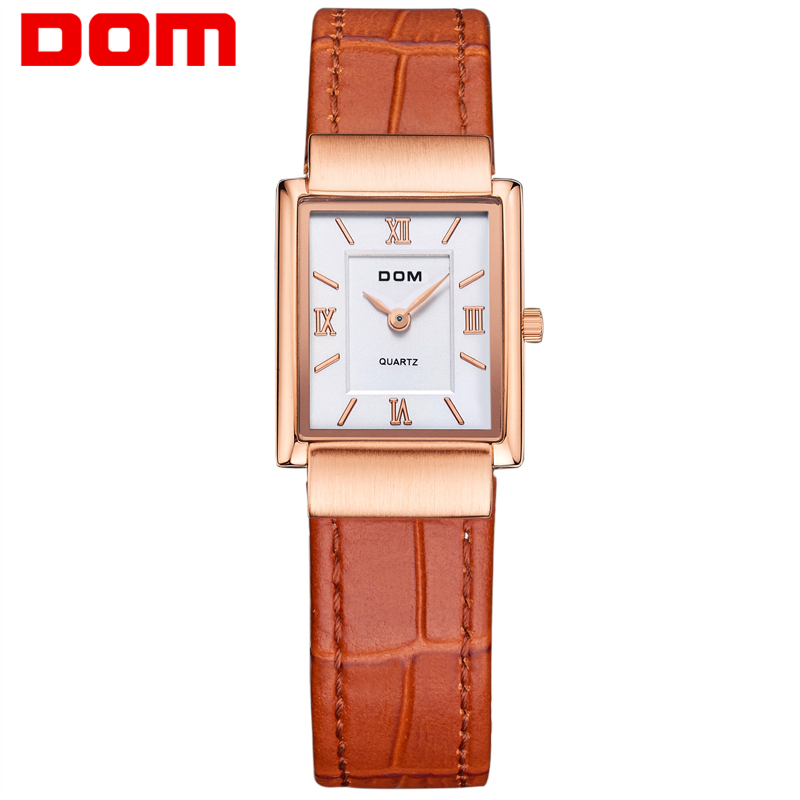 DOM Women Leather Quartz Watch Lady Watches Luxury Brand Stylish Square Dress Watch Clock Relogio Feminino Montre Femme M-289