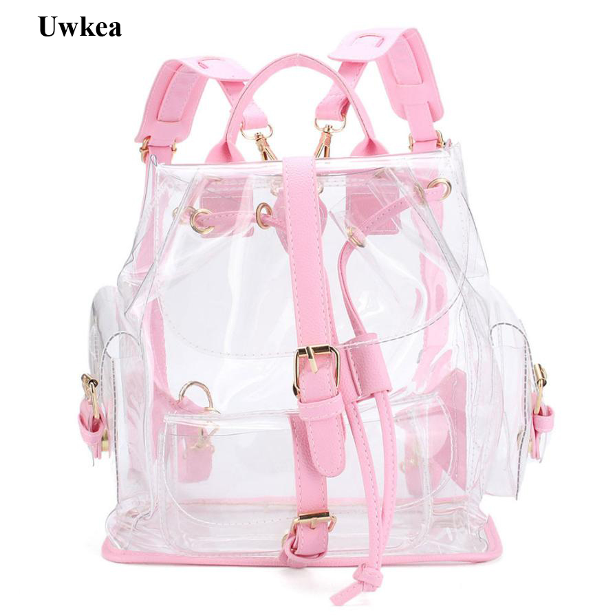 Hot Girls Cute Transparent Backpack Students Pvc School Bag Women Jelly Backpacks Ladies Green/pink Travel Bags Summer Style