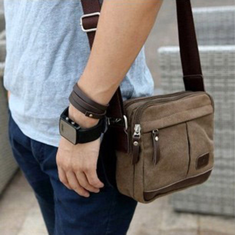 NEW Men Small Style Sholder Bags Classic Coffee Canvas Zipper ...