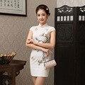 Women Silm  Satin Cheongsam Qipao Short Chinese Dress Female Flower Retro Chinese Wedding Dress Evening Party Dress 18