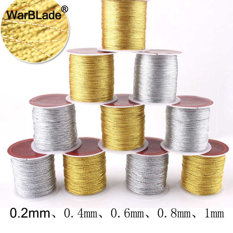 0.2mm 0.4m 0.6mm 0.8mm 1mm Silver Gold Nylon Cord Wire Roll Thread String Rope Bead DIY Braided Bracelet Necklace Jewelry Making
