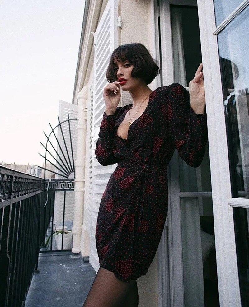 2019 New Women Long Sleeve Wrap Dress Hear Print V Neck Sexy Mini Dress