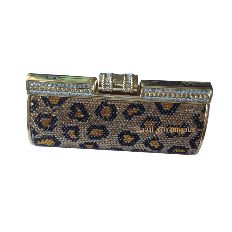 ФОТО Womens Gold Evening Handbag and Silver Crystal Box Clutches Evening Bags