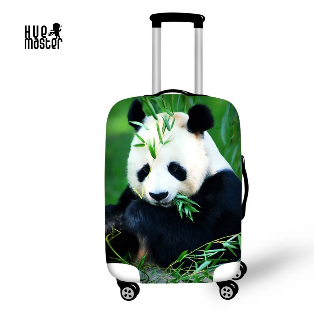 HUE MASTER 3D printing panda patern luggage cover for 18-30 inch Prevent scratches luggage case cover spandex material