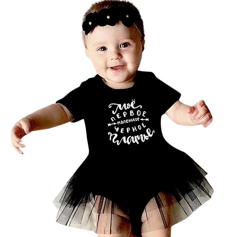 2018 Hot Sale baby rompers Newborn Baby Girls Short Sleeve Letter Sundress Sequins Outfits Dress Clothes bebek tulum carters S