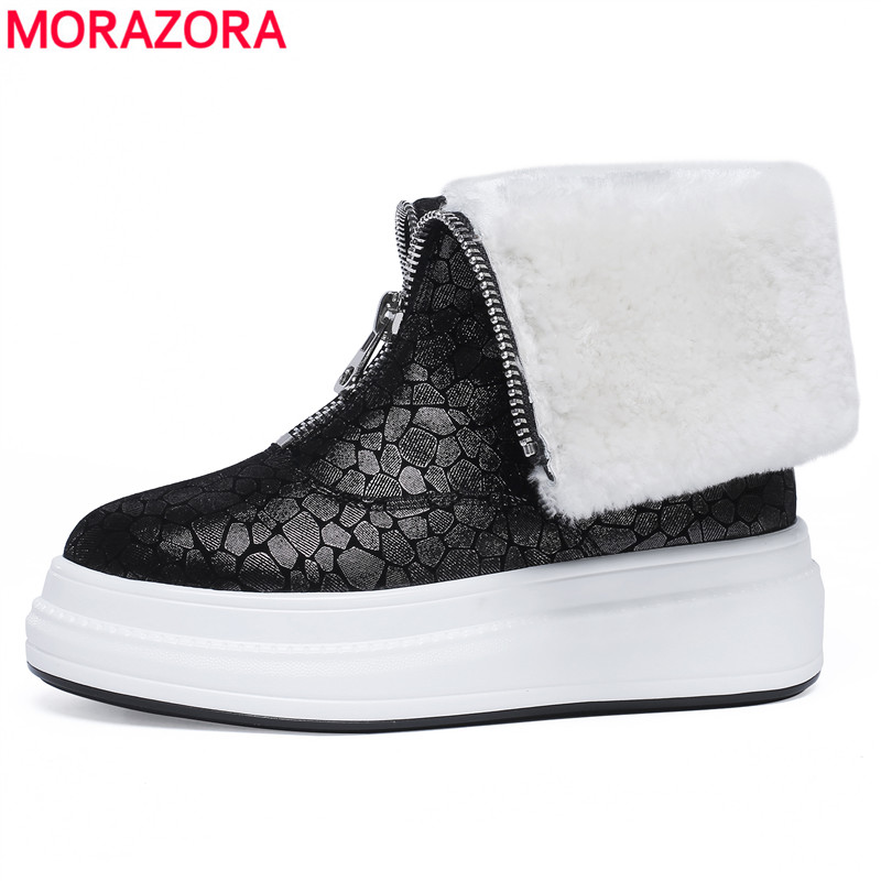 MORAZORA 2018 new genuine leather snow boots wool winter warm ankle boots for women comfortable fashion wool Thick bottom shoes gretel wool boots