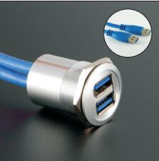 25mm Metal Panel Mounted Double USB Connector/USB Socket  With Extend Cable(60cm,150cm,200cm)