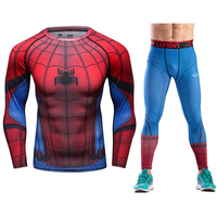 Joggers Skinny Leggings Plus Size Compression Sets High Elastic Men Tshirt Causal Fitness Tracksuits spider man Crossfit Suits