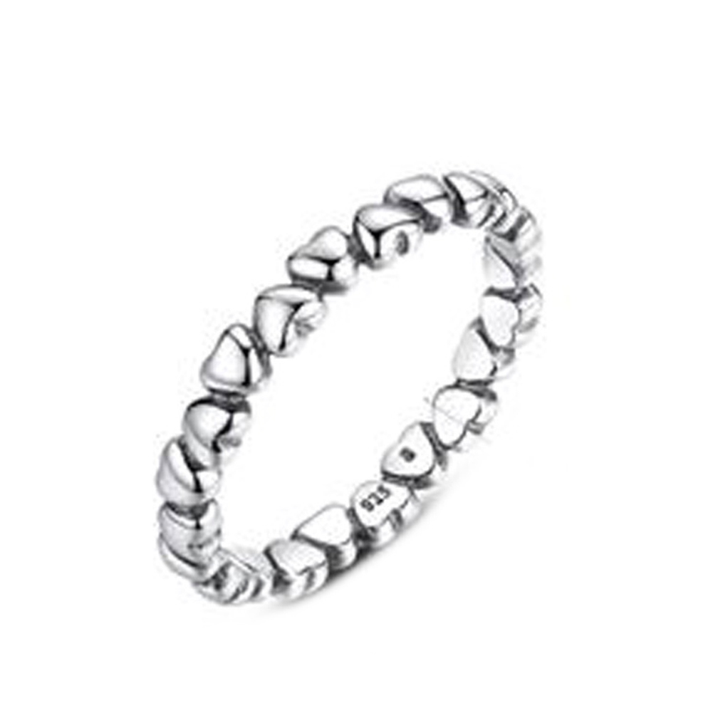 Silver Forever Love Heart Finger Ring Authentic Solid Original Compatible With Pan Jewelry