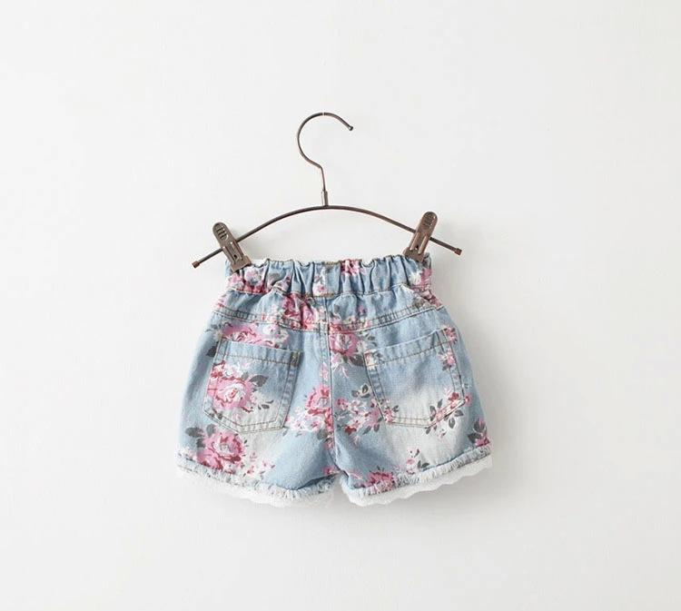 Aliexpress.com : Buy Cute Floral Loose girls denim shorts Elastic ...