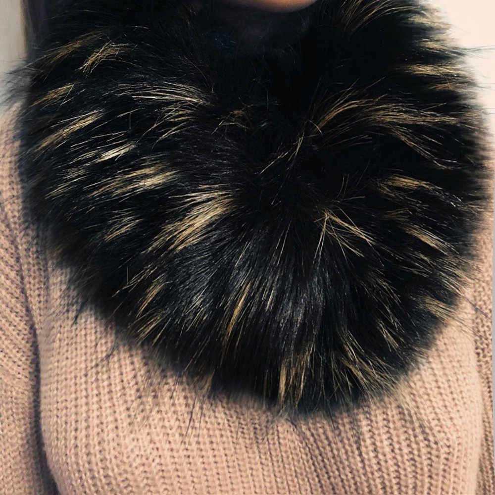 #40 WomenWinter Sciarpa Calda Sciarpa Delle Signore di Modo Del Faux Sciarpe di Pelliccia Del Collare di Lusso Imitazione Pelliccia di Volpe Collare Reale della Pelliccia di Fox collare