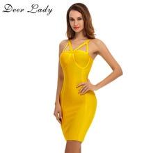 Bandage Dress Yellow Summer Bodycon Bustier Dress Bodycon Women Sexy Bandage Dress XL Elegant Party Dress