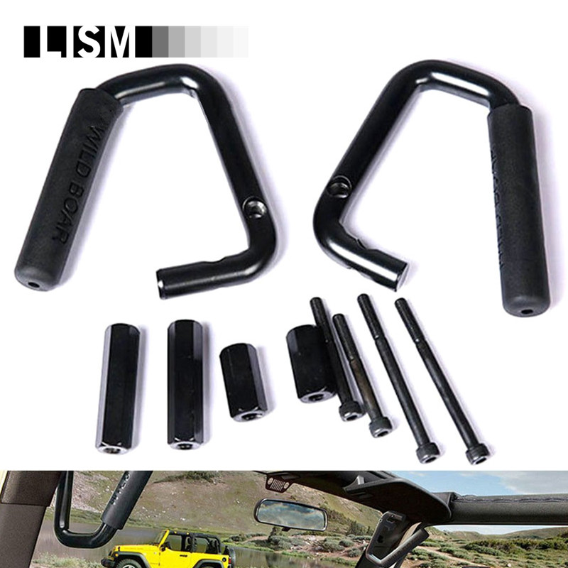 Front Grab Bar Door Grab Handles Kit for Jeep Wrangler JK 2DR/4DR Sahara Sport Rubicon X & Unlimited 4 door Rear Interior Parts 2pcs new car red solid steel front grab handles with power coated surface resist rust for jeep wrangler 2 4 door 2007 2015