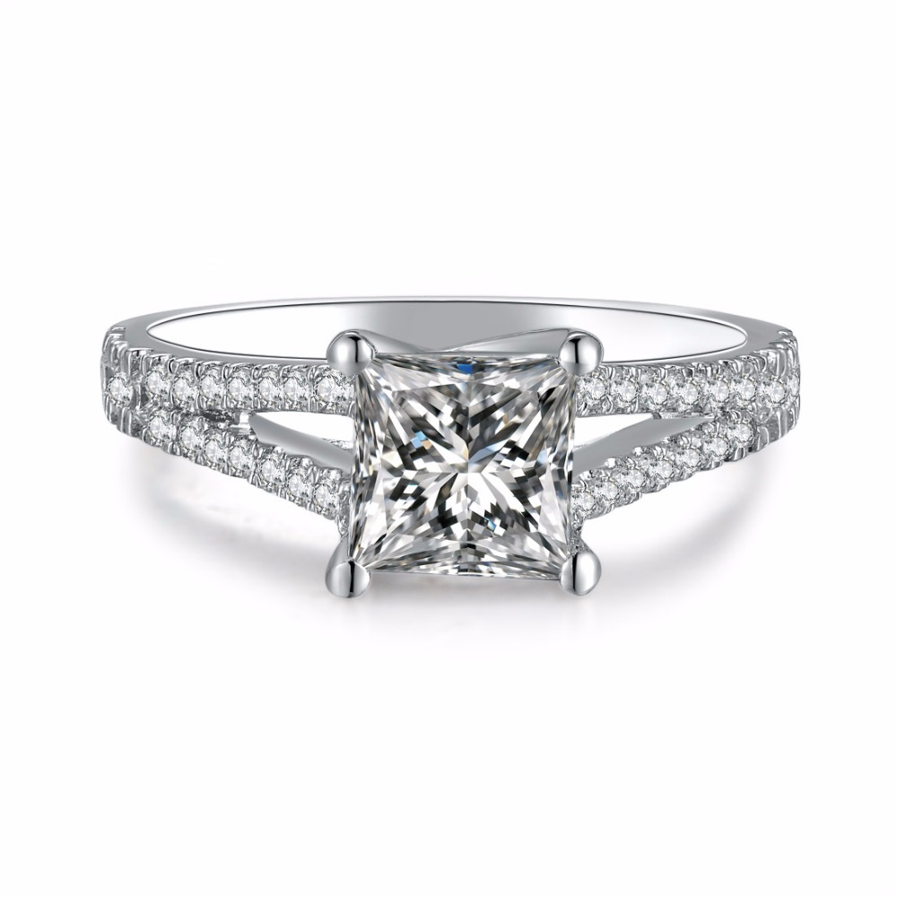 Threeman White Gold Forever 1ct Cushion Cut Synthetic Diamonds Princess Engagement  Ring Finger Jewelry Awesome Valentine