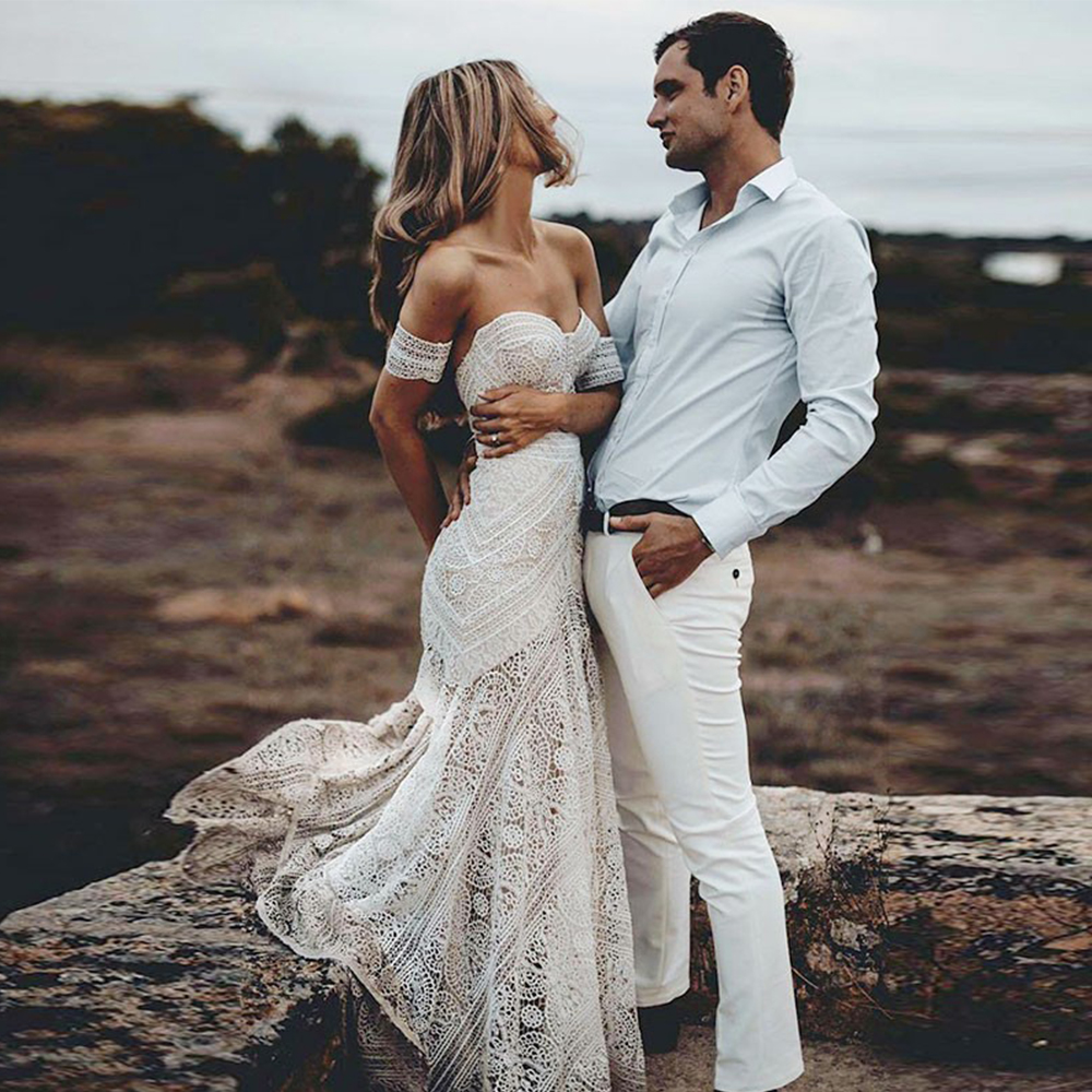 Bbonlinedress Beach Wedding dresses 2019 Mermaid Sweetheart Court Train Lace Beach Wedding Gowns Elegant Bridal Gown Party Dress in Wedding Dresses from Weddings Events