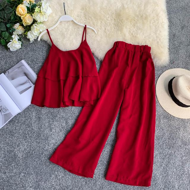 8c3c8b29a ... mujer Beach 2 conjunto ropa. New Summer Fashion Two Piece Sets Women  Sexy Spaghetti Strap Croptops Loose Pants Suits Woman Beach