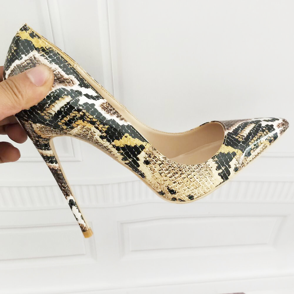 Snake Print Sexy High Heels High Heels Women's Shoes Pointed Shoes Party Prom Women's Pumps 11 13 42 Party Shoes