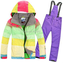 2015 hot womens ski suit ladies snowboarding suit skiwear Color matching grid jacket and purple pants waterproof windproof warm